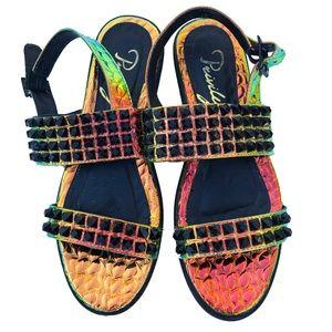 Privileged Holographic Metallic Studded Sandals 8